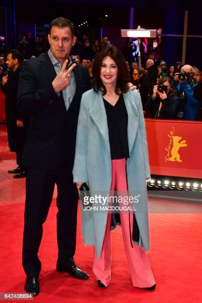 German actress Iris Berben and Heiko Kiesow pose on the red carpet for the premiere of the film 'Logan' in competition at the 67th Berlinale film...