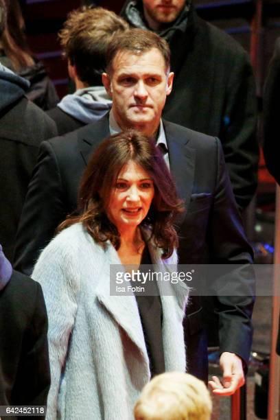 German actress Iris Berben and her boyfriend Heiko Kiesow attend the 'Logan' premiere during the 67th Berlinale International Film Festival Berlin at...