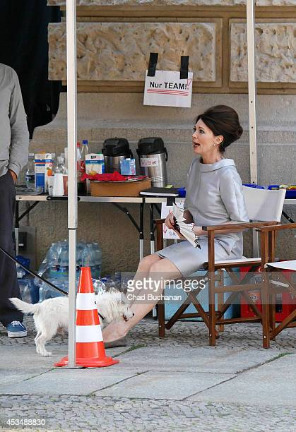 German actress Iris Berben sighted on the set of the film 'Traumfrauen' on August 11 2014 in Berlin Germany