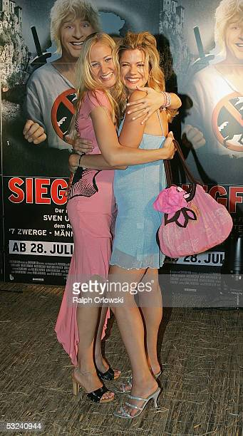 German actress Janine KunzeBudach and actress Diana Frank attend the premiere of the film 'Siegfried' on July 14 2005 in Cologne Germany