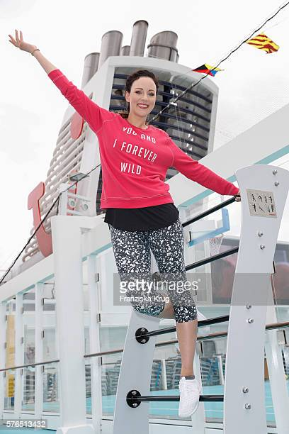German actress Jasmin Wagner during the baptism of the cruise ship 'Mein Schiff 5' on July 15 2016 in Kiel Germany