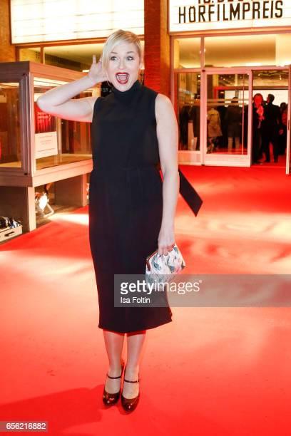 German actress Judith Hoersch arrives at the Deutscher Hoerfilmpreis at Kino International on March 21 2017 in Berlin Germany