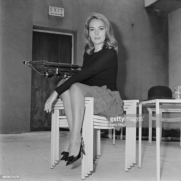 German actress Karin Dor holding a harpoon gun 6th October 1966 She is starring in the James Bond film 'You Only Live Twice'