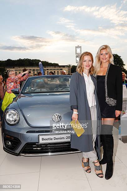German actress Karoline Schuch and german actress Luna Schweiger in front of the Denim Beetle during the 12th Beetle Sunshine Tour To Travemuende the...