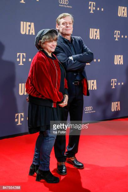 German actress Katharina Thalbach and German actor Sylvester Groth attend the UFA 100th anniversary celebration at Palais am Funkturm on September 15...