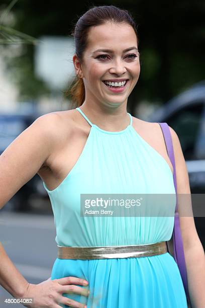 German actress Laura Osswald arrives for MercedesBenz Fashion Week Berlin Spring/Summer 2016 at the Brandenburg Gate on July 9 2015 in Berlin Germany