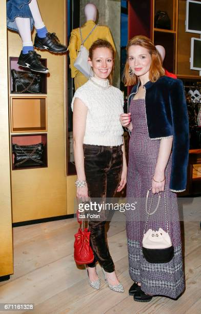 German actress Lavinia Wilson and german actress Karoline Herfurth during the Chanel popup store opening at Soho House on April 19 2017 in Berlin...