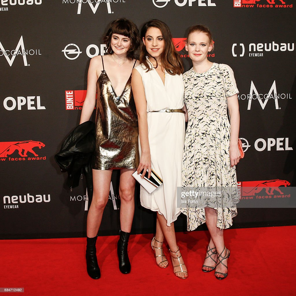 German actress <a gi-track='captionPersonalityLinkClicked' href=/galleries/search?phrase=Lea+van+Acken&family=editorial&specificpeople=12462619 ng-click='$event.stopPropagation()'>Lea van Acken</a>, Almila Bagnacik and Gro Swantje Kohlhof attend the New Faces Award Film 2016 at ewerk on May 26, 2016 in Berlin, Germany.
