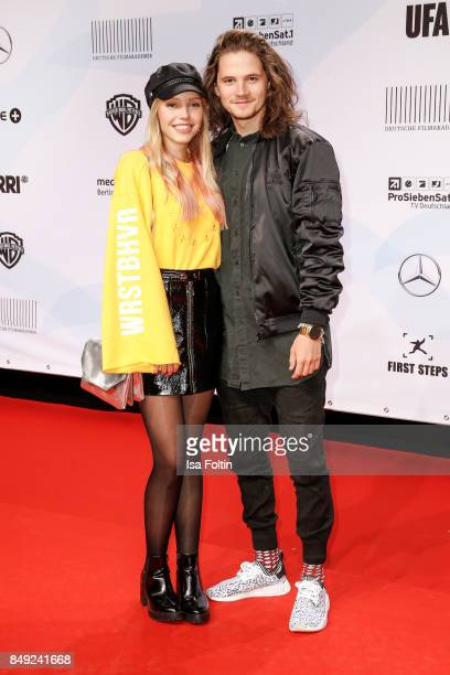 German actress Lina Larissa Strahl and her boyfriend Tilman Poerzgen attend the First Steps Awards 2017 at Stage Theater on September 18 2017 in...