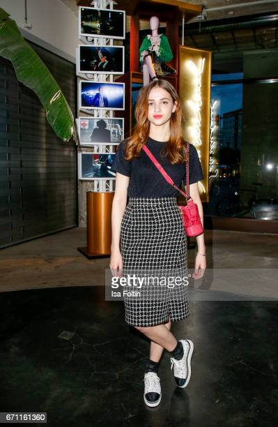 German actress Lisa Vicari during the Chanel popup store opening at Soho House on April 19 2017 in Berlin Germany