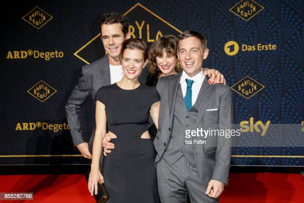 German actress Liv Lisa Fries director Tom Tykwer with his wife Marie Steinmann and German actor Volker Bruch attend the 'Babylon Berlin' Premiere at...