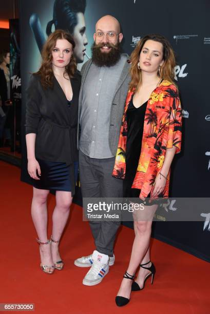 German actress Maria Dragus german director Jakob Lass and german actress Ella Rumpf attend the premiere of the film 'Tiger Girl' at Zoo Palast on...