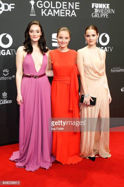 German actress Maria Ehrich german actress Sonja Gerhardt and german actress Emilia Schuele arrive for the Goldene Kamera on March 4 2017 in Hamburg...