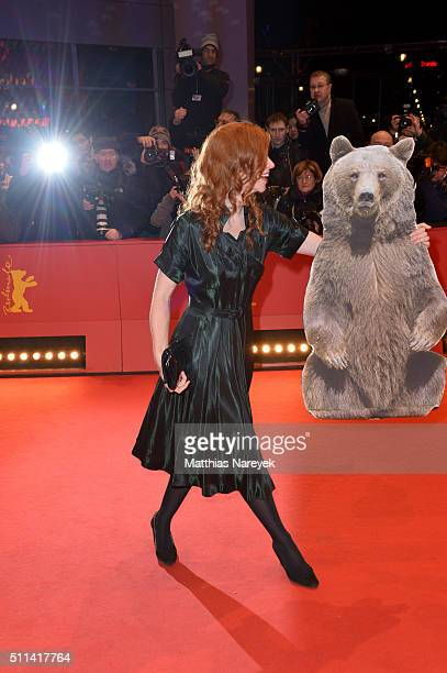 German actress Marleen Lohse poses with a paper bear ahead of the closing ceremony of the 66th Berlinale International Film Festival on February 20...