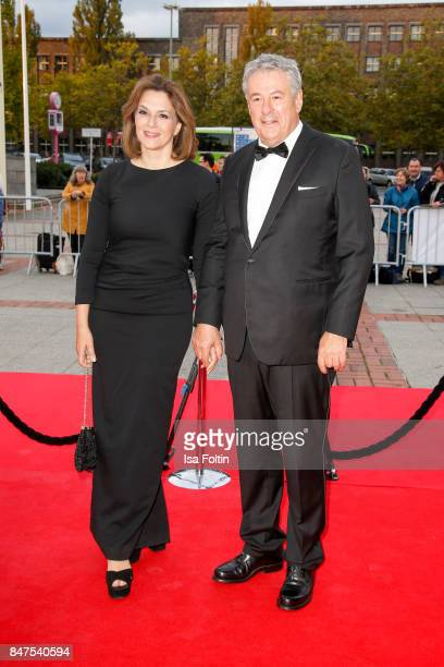 German actress Martina Gedeck and Director Markus Imboden attend the UFA 100th anniversary celebration at Palais am Funkturm on September 15 2017 in...