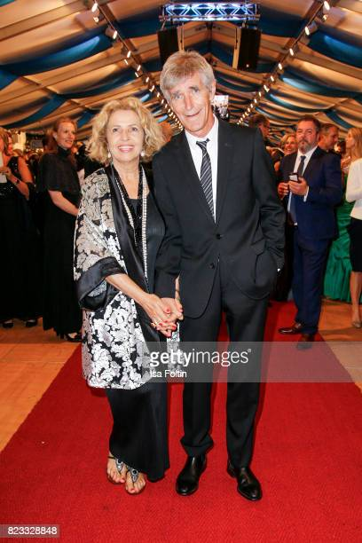German actress Michaela May and her husband Bernd Schadewald during the Bayreuth Festival 2017 State Reception on July 25 2017 in Bayreuth Germany
