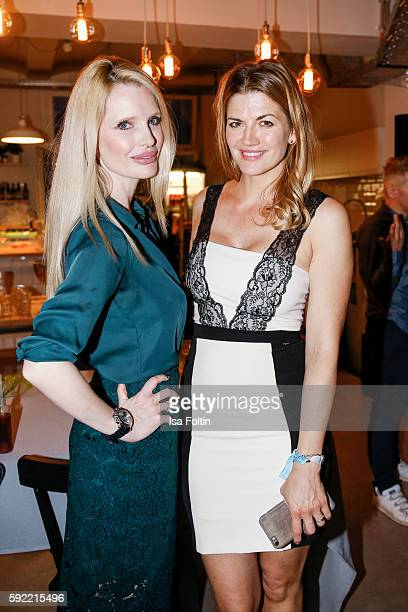 German actress Mirja du Mont and german actress Nina Bott attend the Amorelie Wonderland dinner party at their new headquarter on August 19 2016 in...