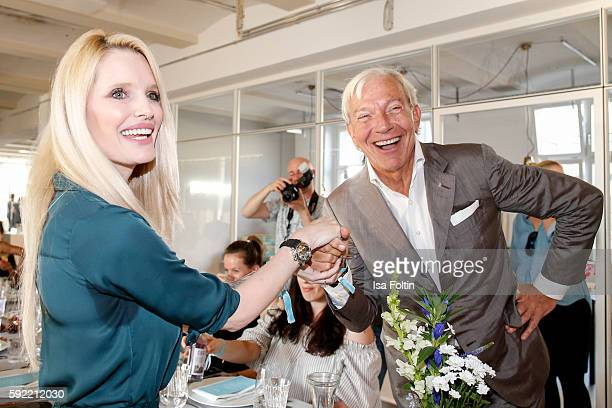 German actress Mirja du Mont and media psychologist Jo Groebel attend the Amorelie Wonderland dinner party at their new headquarter on August 19 2016...