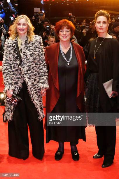 German actress Nina Hoss producer Regina Ziegler and german actress Susanne Wolff attend the Montauk' premiere during the 67th Berlinale...
