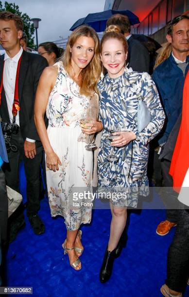 German actress NinaFriederike Gnaedig and German actress Jasmin Schwiers during the summer party 2017 of the German Producers Alliance on July 12...