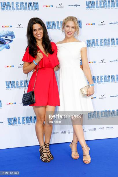 German actress Rabeah Rahimi and German actress Julia Dietze during the 'Valerian Die Stadt der Tausend Planeten' premiere at CineStar on July 19...