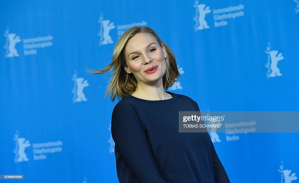German actress Rosalie Thomass attends a photo call for the film 'Gruesse aus Fukushima' (Fukushima, Mon Amour) screened at the Panorama section of the 66th Berlinale Film Festival in Berlin on February 13, 2016. / AFP / TOBIAS SCHWARZ