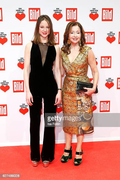 German actress Sandra von Ruffin and her mother singer Vicky Leandros attend the Ein Herz Fuer Kinder gala on December 3 2016 in Berlin Germany