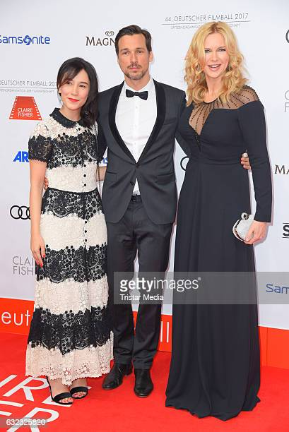German actress Sibel Kekilli german actor Florian David Fitz and german actress Veronica Ferres attend the German Film Ball 2017 at Hotel Bayerischer...
