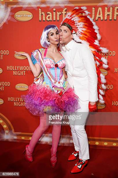 German actress Sila Sahin and Hairfree founder Jens Hilbert attends the Hollywood Superhero Fairytale Night hosted by Jens Hilbert on November 26...