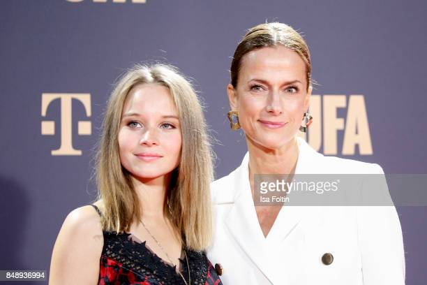 German actress Sonja Gerhardt and German actress Claudia Michelsen attend the UFA 100th anniversary celebration at Palais am Funkturm on September 15...