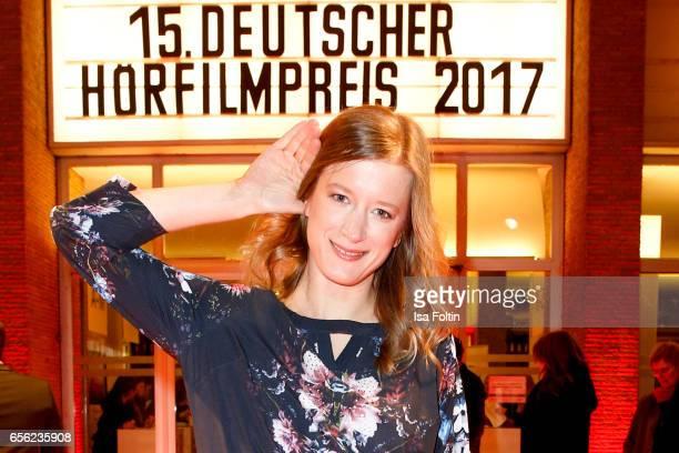 German actress Stephanie Stremler arrives at the Deutscher Hoerfilmpreis at Kino International on March 21 2017 in Berlin Germany