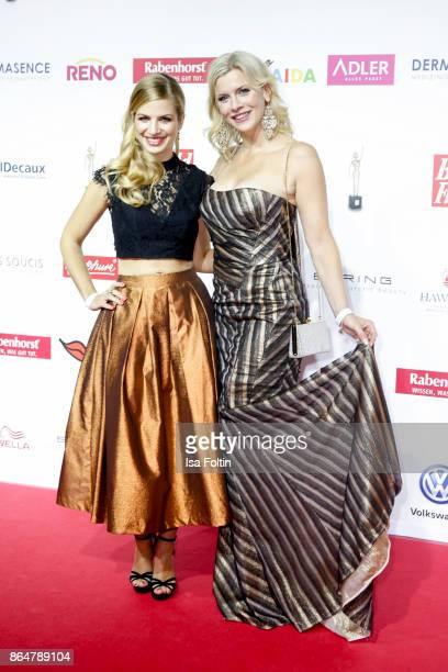 German actress Susan Sideropoulos and German actress Eva Habermann attend the 'Goldene Bild der Frau' award at Hamburg Cruise Center on October 21...