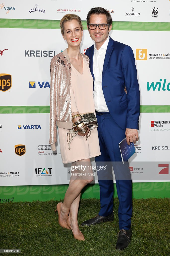 German actress Tina Ruland and Michael Jacob attend the Green Tec Award at ICM Munich on May 29, 2016 in Munich, Germany.