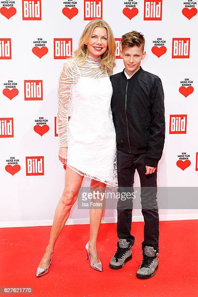 German actress Ursula Karven and her son Liam Taj Veres attend the Ein Herz Fuer Kinder gala on December 3 2016 in Berlin Germany