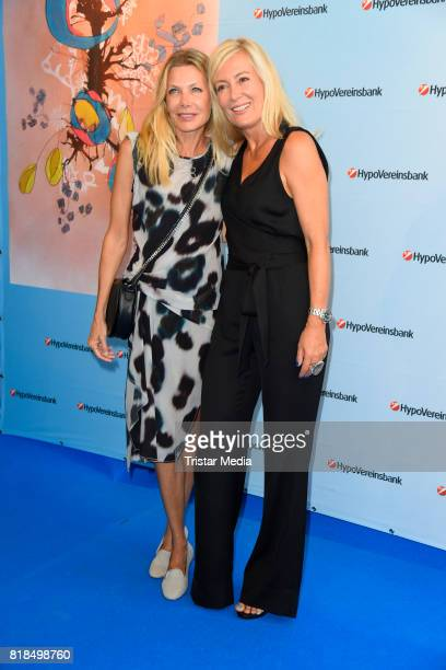 German actress Ursula Karven and Judith Milberg attend the exhibition opening 'Judith Milberg Aus der Mitte' at HypoVereinsbank Charlottenburg on...
