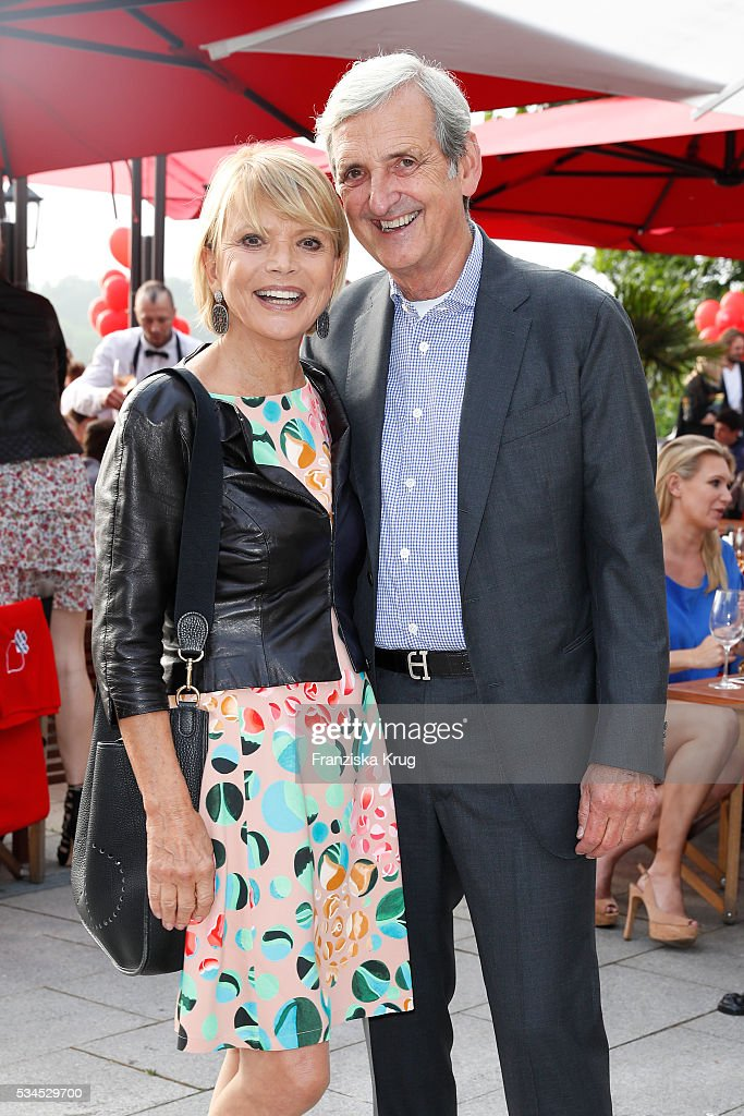 German actress <a gi-track='captionPersonalityLinkClicked' href=/galleries/search?phrase=Uschi+Glas&family=editorial&specificpeople=213394 ng-click='$event.stopPropagation()'>Uschi Glas</a> and Dieter Hermann during the 'Ein Herz fuer Kinder' summer party at Wannseeterrassen on May 26, 2016 in Berlin, Germany.