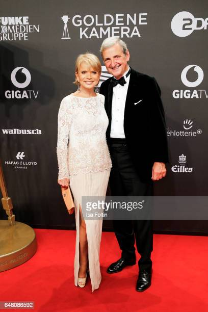 German actress Uschi Glas and her husband Dieter Hermann arrive for the Goldene Kamera on March 4 2017 in Hamburg Germany