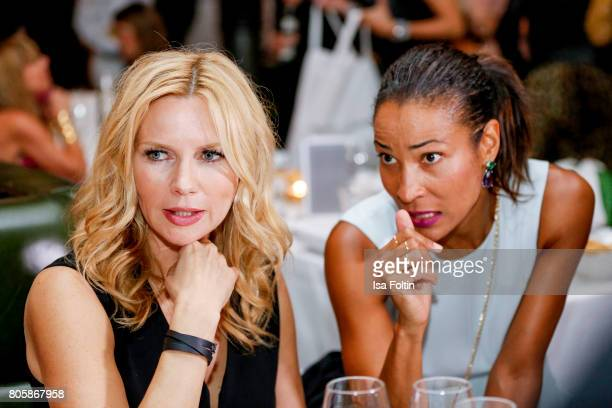 German actress Veronica Ferres and German presenter Annabelle Mandeng during the host of Annabelle Mandengs Ladies Dinner at Hotel Zoo on July 2 2017...