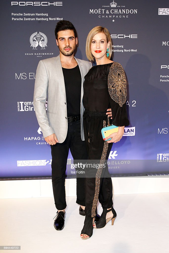 German actress Wolke Hegenbarth and her boyfriend Oliver Vaid attend the Fashion2Night event at EUROPA 2 on August 23 2016 in Hamburg Germany
