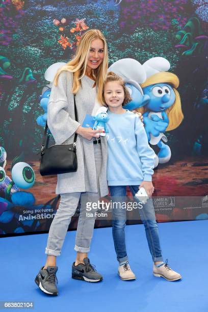 German actress Xenia Seeberg and her daughter youtubestar Philias Martinek during the 'Die Schluempfe Das verlorene Dorf' premiere at Sony Centre on...
