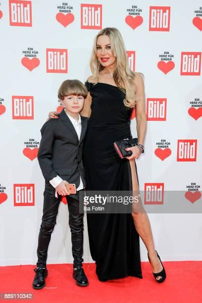 German actress Xenia Seeberg and her son PhilipElias Martinek attend the 'Ein Herz fuer Kinder Gala' at Studio Berlin Adlershof on December 9 2017 in...
