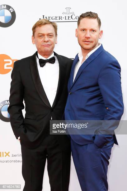 German actro Sylvester Groth and german actor Marco Kreuzpaintner during the Lola German Film Award red carpet arrivals at Messe Berlin on April 28...