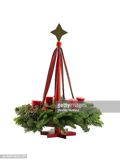 German advent wreath on white background