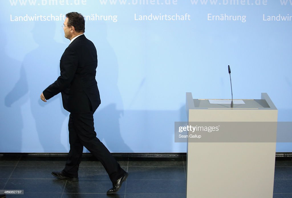 German Agriculture and Consumer Protection Minister Hans-Peter Friedrich departs after announcing his resignation to the media on February 14, 2014 in Berlin, Germany. Friedrich has resigned after he admitted that he shared information with German Social Democrats leader Sigmar Gabriel in October, 2013 while Friedrich was still Minister of Interior regarding possible suspicions of child pornography possession by Bundestag member Sebastian Edathy, long before police raided Edtahy's office and home last weekend.