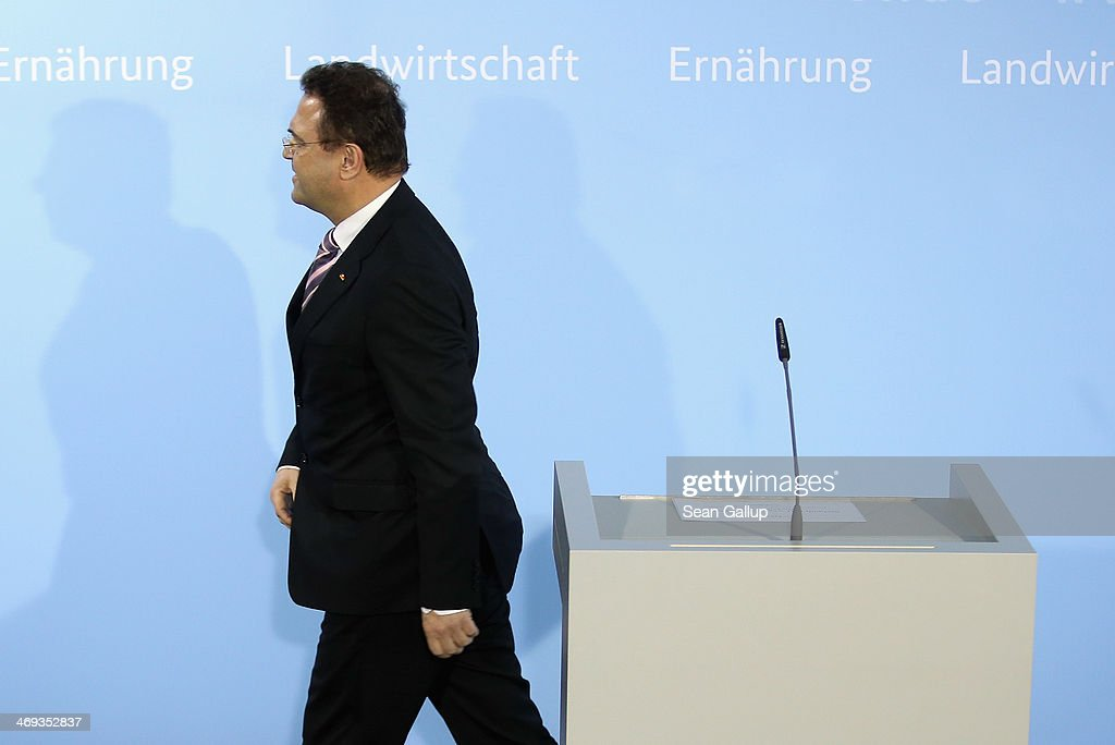 German Agriculture and Consumer Protection Minister HansPeter Friedrich departs after announcing his resignation to the media on February 14 2014 in...