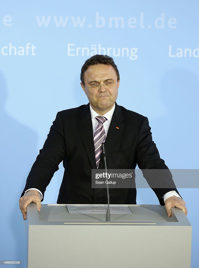 German Agriculture and Consumer Protection Minister <a gi-track='captionPersonalityLinkClicked' href=/galleries/search?phrase=Hans-Peter+Friedrich&family=editorial&specificpeople=7528072 ng-click='$event.stopPropagation()'>Hans-Peter Friedrich</a> announces his resignation to the media on February 14, 2014 in Berlin, Germany. Friedrich has resigned after he admitted that he shared information with German Social Democrats leader Sigmar Gabriel in October, 2013 while Friedrich was still Minister of Interior regarding possible suspicions of child pornography possession by Bundestag member Sebastian Edathy, long before police raided Edtahy's office and home last weekend.