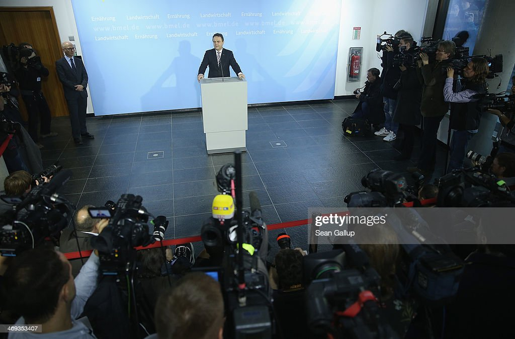 German Agriculture and Consumer Protection Minister HansPeter Friedrich announces his resignation to the media on February 14 2014 in Berlin Germany...