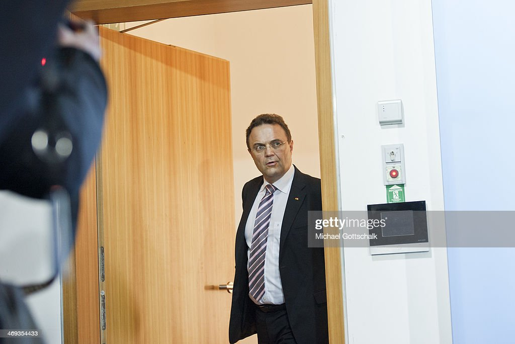 German Agriculture and Consumer Protection Minister HansPeter Friedrich arrives to a press conference in the ministry for agriculture on February 14...