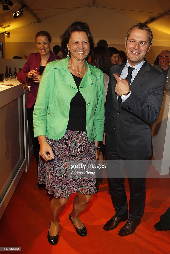 German Agriculture and Consumer Protection Minister <a gi-track='captionPersonalityLinkClicked' href=/galleries/search?phrase=Ilse+Aigner&family=editorial&specificpeople=2158567 ng-click='$event.stopPropagation()'>Ilse Aigner</a> and German Health Minister <a gi-track='captionPersonalityLinkClicked' href=/galleries/search?phrase=Daniel+Bahr&family=editorial&specificpeople=7622444 ng-click='$event.stopPropagation()'>Daniel Bahr</a> attend the ZDF summer reception on July 2, 2012 in Berlin, Germany.
