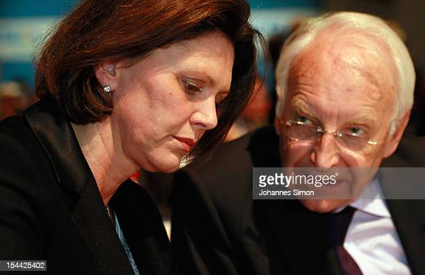 German Agriculture and Consumer Protection Minister Ilse Aigner and Edmund Stoiber former MinisterPresident of Bavaria chat together ahead of the...